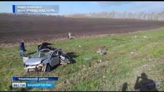 На трассе в Башкирии автомобиль опрокинулся в кювет, 2 человека погибли