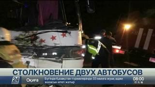 Видео с места смертельного ДТП с двумя автобусами в Кызылординской области