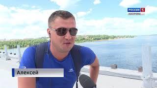 В Костроме на правоповоротном съезде моста через Волгу начали укладывать асфальт