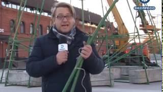 В Пензе начали устанавливать главную новогоднюю елку