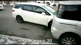 Ослепленный водитель врезался в припаркованные авто во Владивостоке
