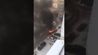 В Солнечном горит машина