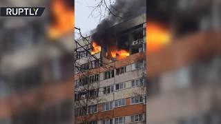 Видео с места взрыва в жилом доме в Санкт-Петербурге