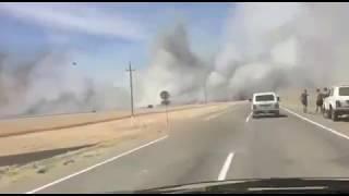 Пшеничное поле горит на Ставрополье