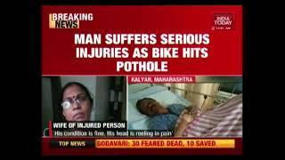 Mumbai Pothole Menace : Biker Suffers Serious Injuries After Bike Hits Pothole