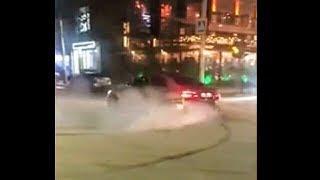 Дагестанские дрифтеры на спорткарах BMW и Mercedes устроили заезд с ДТП с полицейской машиной