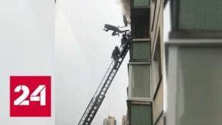 Петербуржец на глазах спасателей выпрыгнул с балкона горящей квартиры - Россия 24