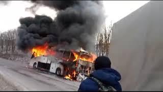 В Приморье сгорел пассажирский автобус. Люди едва спаслись