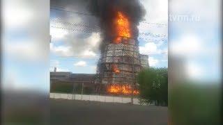 В Саранске сгорела градирня ТЭЦ 2