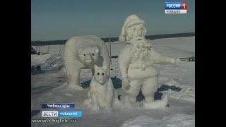 Скульптор-любитель из Чебоксар украсил набережную Волги фигурами из снега и льда