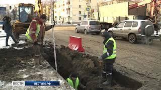 На улице Предтеченской в Вологде полным ходом идёт ремонт ливневки