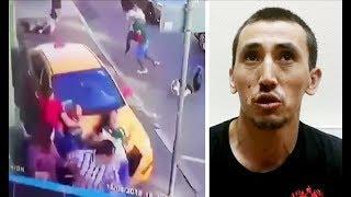 Киргиз на такси въехал в толпу пешеходов на тротуаре в центре Москвы (2018)