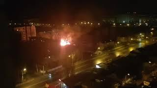 Пожар на улице Ломоносова в Воронеже