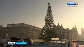 На площади Ленина начали устанавливать главную ёлку Новосибирска