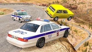 Полицейские аварии Скоростные погони BeamNG Drive Копы ловят преступников Преследование и ДТП
