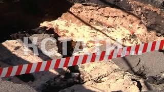 Дорожный кратер - новый провал грунта на проезжей части в Приокском районе