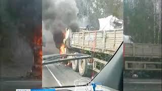 На подъезде к Красноярску сгорел грузовик