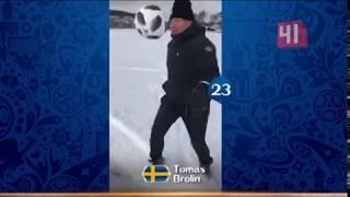 Путин набивает футбольный мяч