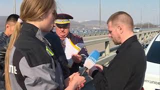 Двойное ДТП произошло на Русском мосту