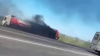 Дагестан, ДТП бензовоза с фурой на трассе, 29.04.18