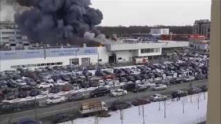 пожар в Санкт-Петербурге горит автосалон