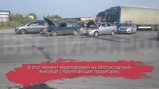 «Фольксваген» и ВАЗ столкнулись в Череповце: есть пострадавший