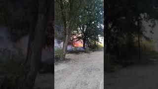 В Астрахани горит сухая растительность