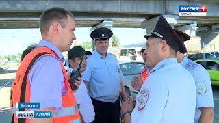 Эксперты обследуют повреждённый путепровод на проспекте Строителей