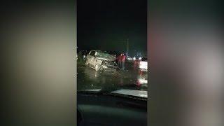 Машина вдребезги — в Бишкеке Range Rover попал в жуткое ДТП