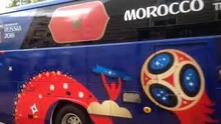 Автобус с символикой сборной Марокко в Воронеже