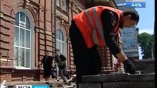 Плитку на асфальт меняют на улице Ленина в Иркутске