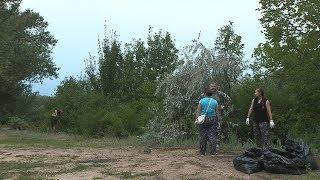Волонтеры очистили от мусора берег ерика Верблюд