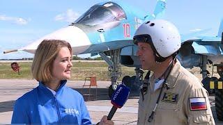 Летчик-ас показал высший пилотаж на Су-34 на авиашоу в Мочище