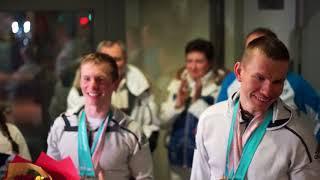Встреча в аэропорту  Тюмени призеров олимпийских игр