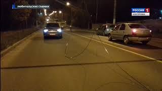 В костромском микрорайоне Черноречье оборвавшиеся троллейбусные провода повредили две машины