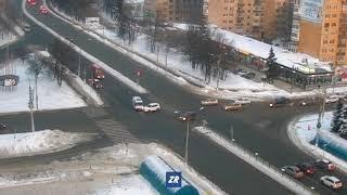Момент ДТП с участием скорой в Чебоксарах, 10 февраля 2018
