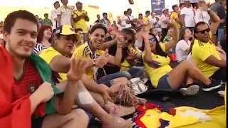Яркие эмоции участников фестиваля болельщиков в Самаре от матча Сенегал - Колумбия