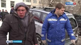 Пьяный угонщик на КАМАЗе протаранил 4 машины на стоянке
