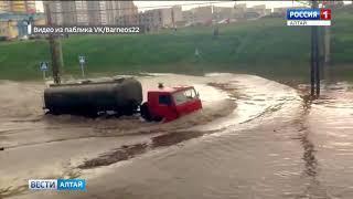 В Барнауле ливневая канализация не выдержала сильных дождей