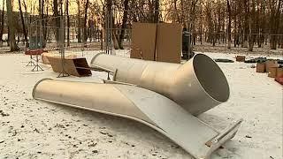 В Бутусовском парке Ярославля начали установку нового детского городка