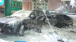 В Красноярске молодой водитель влетел в АЗС