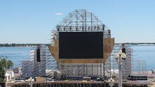 На Центральной набережной Волгограда установили большой экран для болельщиков ЧМ-2018