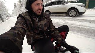 Попал в ДТП. Кола-Бургер. Катаемся по городу на снегокате.
