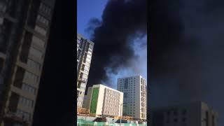Пожар на стройке детского сада в Тюмени