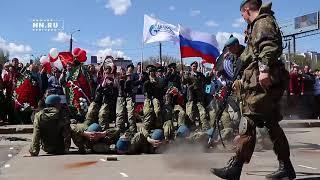 Военная реконструкция на праздничном митинге