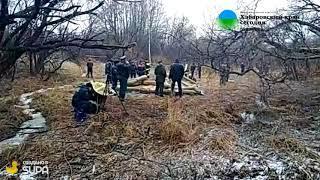 Работы на месте крушения вертолета в Хабаровске