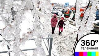 В столичном регионе прошёл ледяной дождь