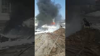 В Петропавловске пожарные пеной тушили резервуар из-под топлива