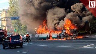 Автобус сгорел в Петербурге