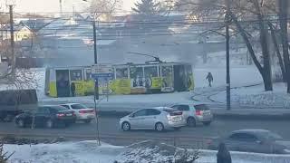 опять горит трамвай в Хабаровске